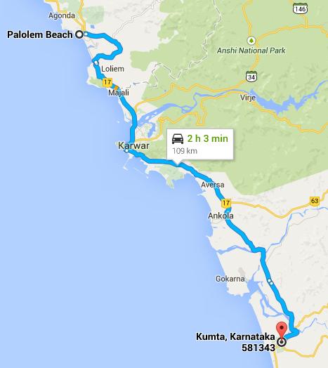 Palolem beach to Kumta